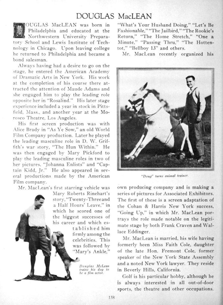 Douglas MacLean profile 1924