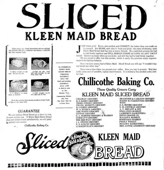 sliced bread machine 1928