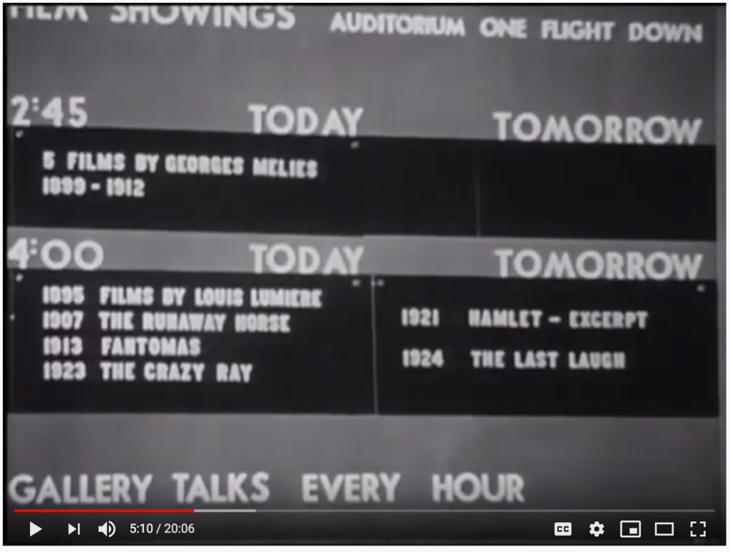 MoMA Film Schedule 1949