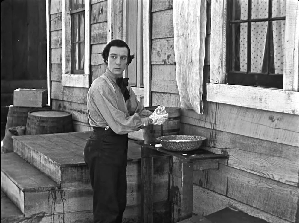 Buster Keaton Washing Hands in The General